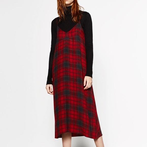 Zara Dresses & Skirts - Zara Plaid Tank Slip Dress